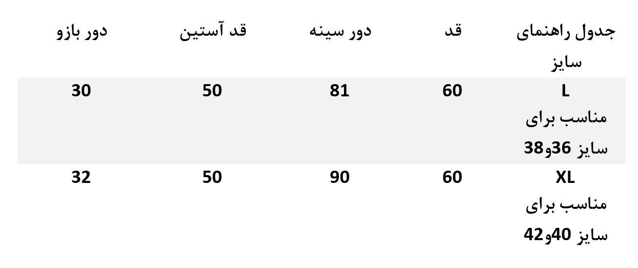 جدول راهنمای سایز